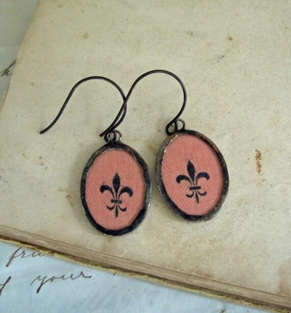 Fleur De Lis Vintage Fabric Earrings