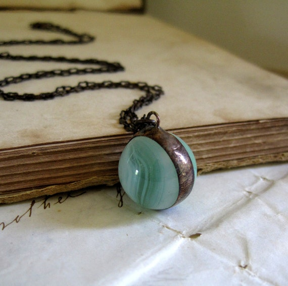 Pale Mist Glass Marble Necklace
