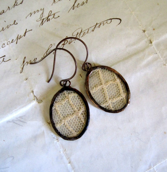 Caged Vintage Lace Earrings