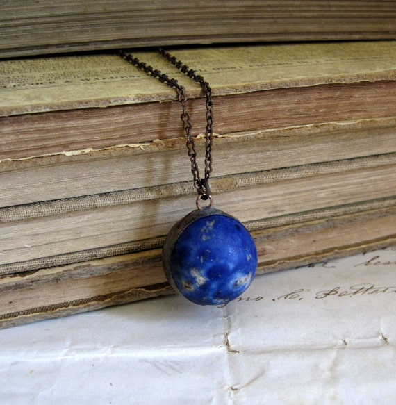 Navy Blue Vintage Clay Marble Necklace