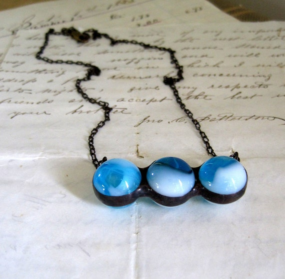 Vintage Glass Marble Medley Bib Necklace Blue White