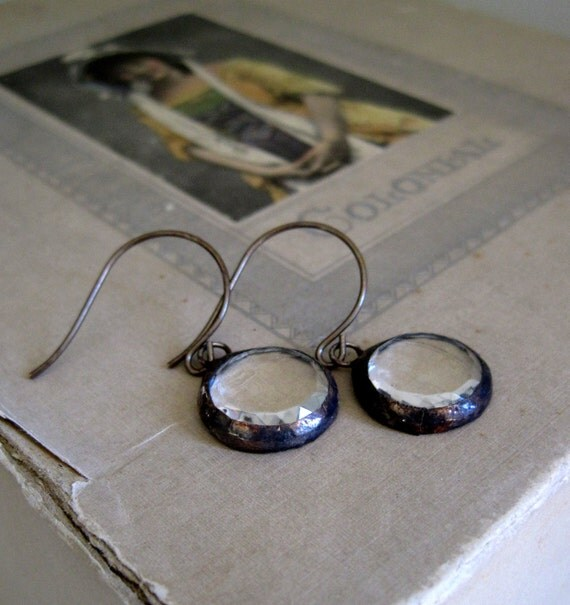 Clearly Seen Faceted Glass Earrings Clear Stained Glass Jewelry