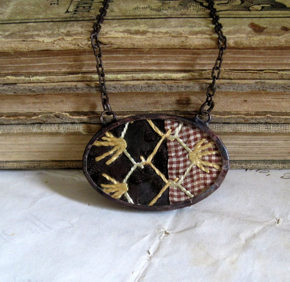Chocolate Vintage Crazy Quilt Necklace Bib Jewelry