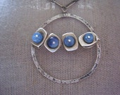 Kyanite Pendant, Sterling Silver and Denim Blue Kyanite,  Lily Pond Necklace, Metalwork and Gemstone Necklace.