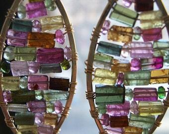 "Gold Tourmaline Drop Earrings, ""Stained Glass "" Jewelry, Watermelon Tourmaline Earrings, Woven Gemstone Mosaic Earrings, Bridesmaids Gift."