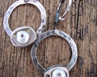 Sterling Silver Hoop Earrings, White Pearl Earrings, Silver Circle Earrings, Nature Inspired Jewelry, Organic Metalwork Industrial Jewelry,