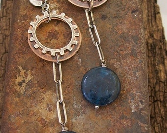 Steampunk Industrial Gear Earrings with Midnight blue Apatite ,Sterling Silver and Copper .