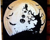 Black and Copper Glittered Halloween Art with bats, owl, and Spooky tree