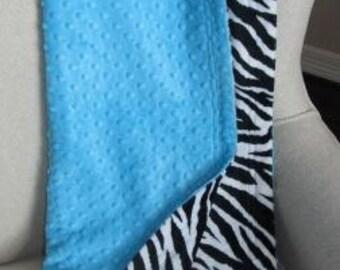 Medium turquoise dot and black and white zebra minky blanket