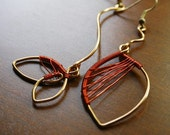 Autumn leaf ..(one pair, two looks) ..copper wire earrings ..OOAK ..free U.S. shipping