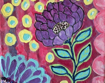 Purple Flower whimsical Original Painting, 6x6 Canvas, Pink, Yellow, Sale, Acrylic Painting, Canvas