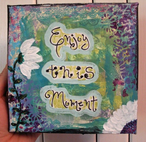 SALE Original Painting, Collage, Mixed Media, Inspirational, 6x6 Canvas, Motivational, Green, Blue, Purple