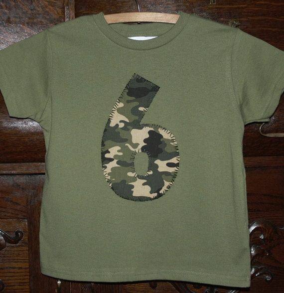 CAMO boys 6th birthday 6 party shirt . reserved .
