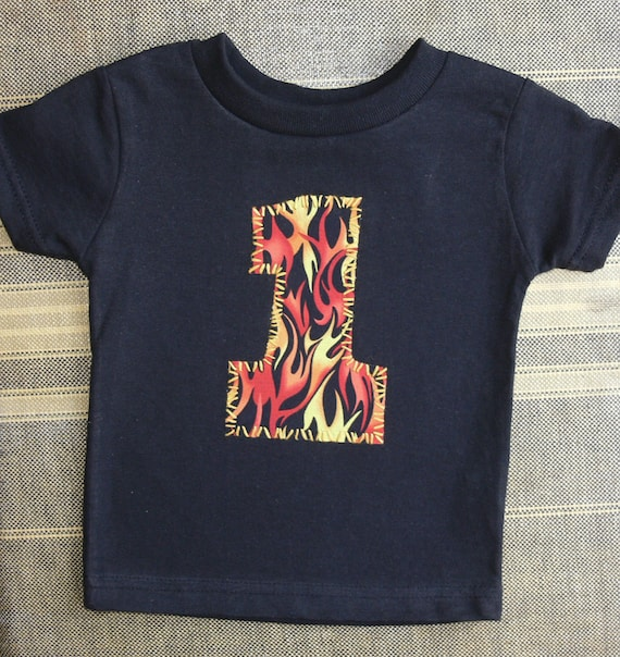 SALE ... FIREMAN 1 party shirt ... boys 1st BIRTHDAY ... flames
