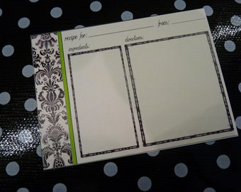 50 Blank Damask Recipe Cards - Pick your accent color - Printed on premium cardstock
