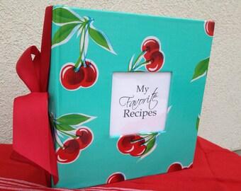 Recipe Album - Hand wrapped Oil Cloth Cherry Print