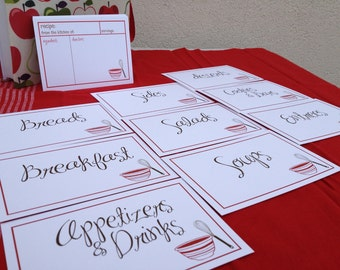 75 Blank Red Bowl and Whisk Recipe Cards and Category Cards
