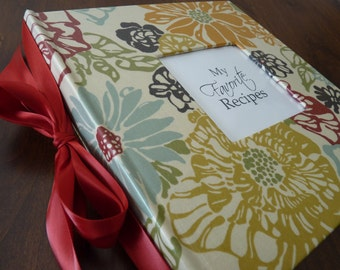Recipe Album - Comes with Favorite Recipes - Hand Wrapped Laminated Fabric