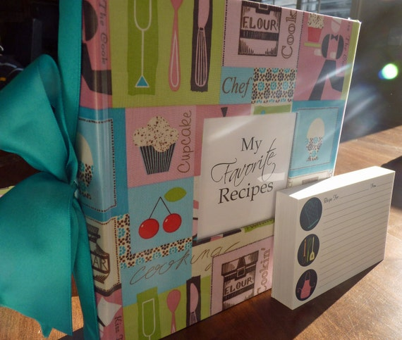 RESERVED - Recipe Shower Package with Recipe Album, Printed invitations & Recipe Cards