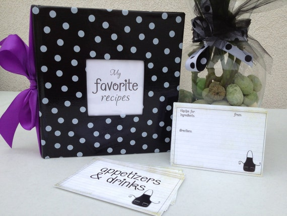 RESERVED Polka Dot Recipe Album Kit - Comes with 50 Recipe Cards & 9 Header Cards - Pick your accent color