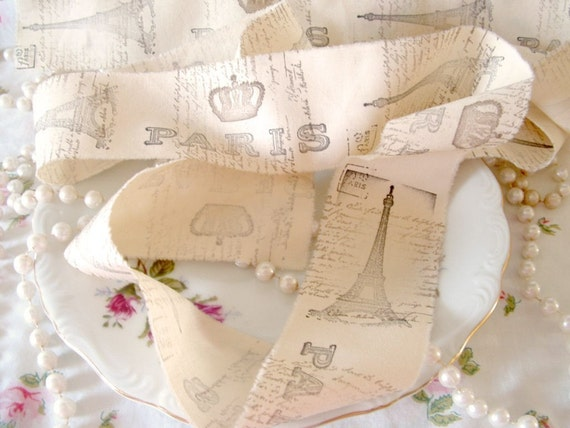 Over 2 1/2 Yards of Hand Stamped Antique French Writing, Paris, Crowns and Eiffel Tower Coffee Stained Muslin Ribbon
