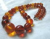 Bead necklace warm amber autumn brown tones