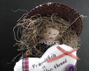 Handmade OOAK muslin Ms. Friendship doll with heart