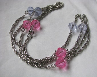 Pastel Glo Sarah Coventry vintage silver tone necklace with pink lilac beads