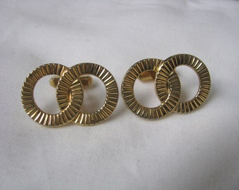 Elegant gold tone textured double ring cuff links cufflinks
