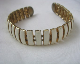 Gold tone with ivory enamel adjustable vintage cuff bracelet