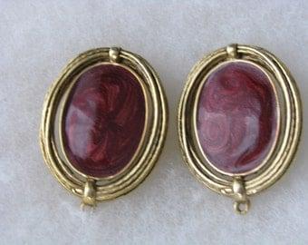 Gold tone raspberry swirl clip on clip back earrings