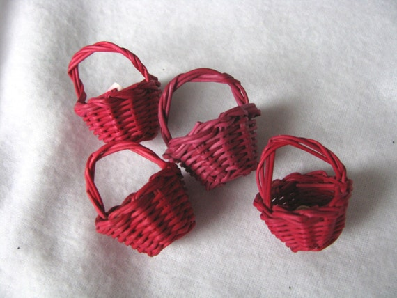 Set of 4 miniature vintage red baskets for crafting