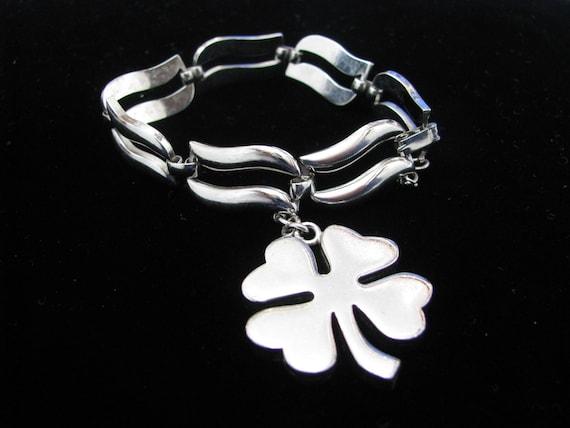 Monet Silver tone Link Bracelet w/ Shamrock Charm