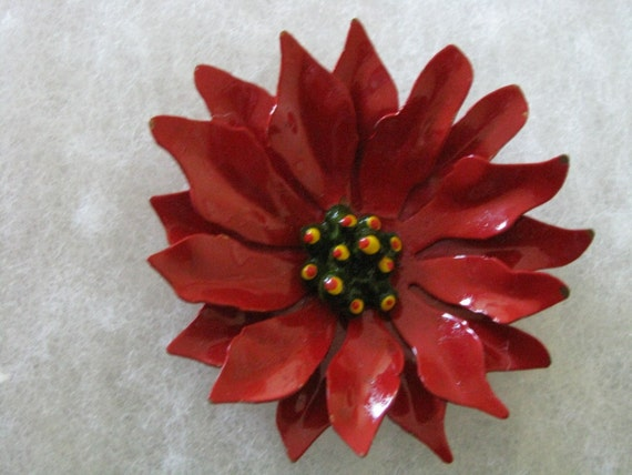 Large retro red enamel flower pin brooch for the holidays