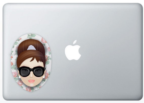 Audrey Hepburn, (Color) w. Floral Patter, Sticker