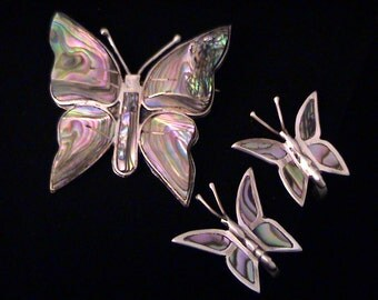 Vintage TAXCO Mexico Sterling Butterfly Brooch and Earrings