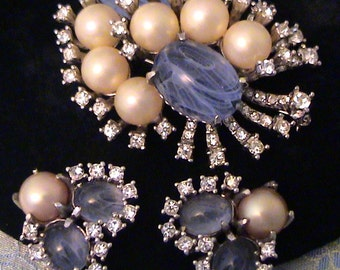 Vintage MARVELLA Blue Glass, Pearl and Rhinestone Brooch and Earrings Demi