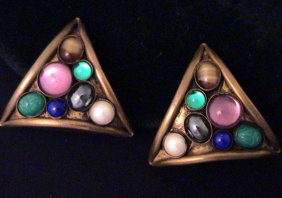 Vintage MARJORIE BAER Colorful Stones Modernist Earrings