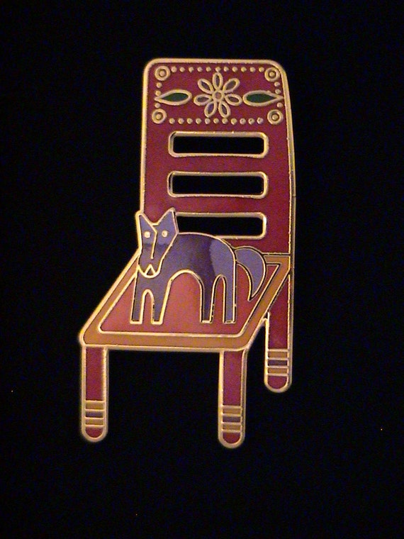 "Vintage LAUREL BURCH ""Basso Goes To The Chair House"" Brooch"