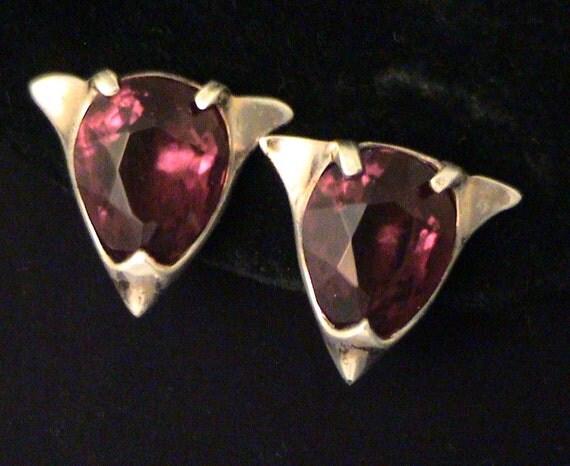 Vintage STERLING Silver and Garnet Rhinestone Screw Back Earrings
