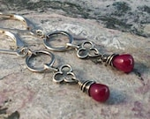 Ruby and Sterling Silver Trefoil Earrings
