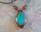 Blue Green Chrysocolla & Rosewood Inlay Marquise Pendant OOAK