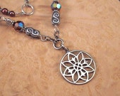 Mandala Lotus Necklace Sterling Silver & Pearls - Earth