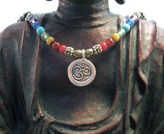 OM Necklace Fine Silver Pendant with Chakra Rainbow Gemstones 2 SALE