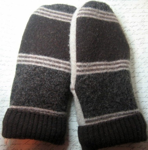 Brown Stripe Men's Mittens - Fully Lined - Recycled Wool Sweater