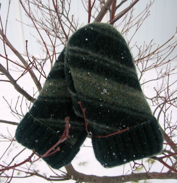 Peppermint Patty Green Stripe Mittens - Fully Lined - Recycled Wool Sweater