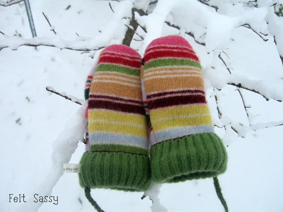 SALE Chidren's Felted Mittens - Candy Stripe - Fully Lined - Recycled Wool Sweater - by Felt Sassy