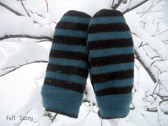 SALE Women's Felted Mittens - Blue and Brown Stripe - Fully Lined - Recycled Wool Sweater - by FeltSassy