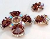 Vintage D&E/Juliana Pin/Pendant Earring Set