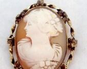 1/20 12K Vintage Left Facing Shell Cameo Pin Pendant